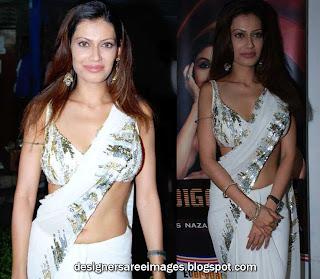 Indian Actress Payal Rohatgi in White Designer Saree