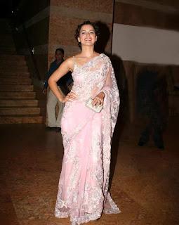 Bollywood Actress Kangana Ranaut Open Back Blouse Design