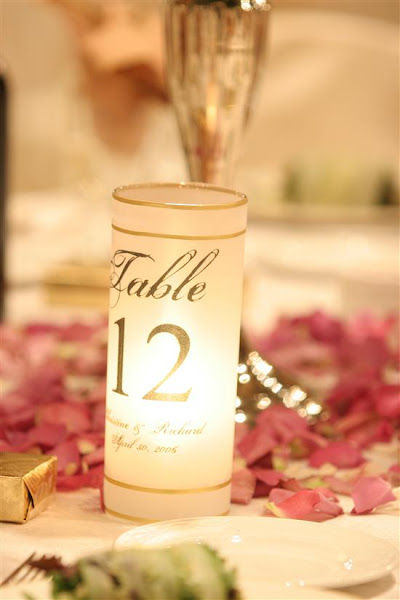 Glass Wedding Table Number