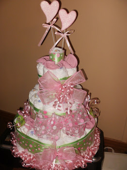 Light Green/Pink Dots w/hearts large diaper cake
