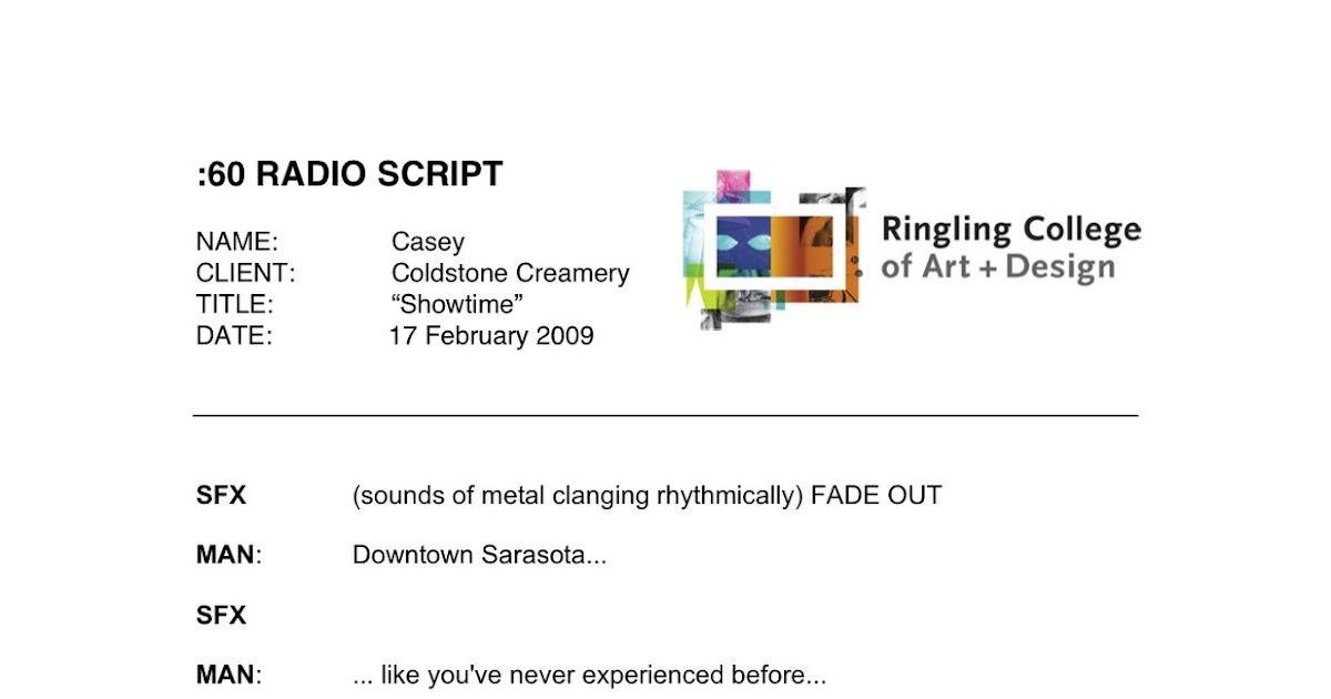 Art & Design by Casey Ligon: Advertising Copywriting - Radio Script