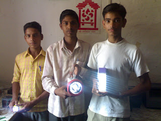 Boys from FabLab India with LED products