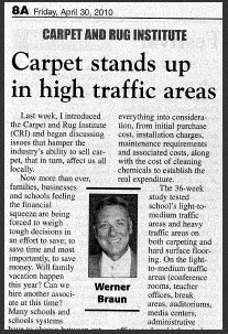Werner Braun: carpet a good choice for high-traffic areas