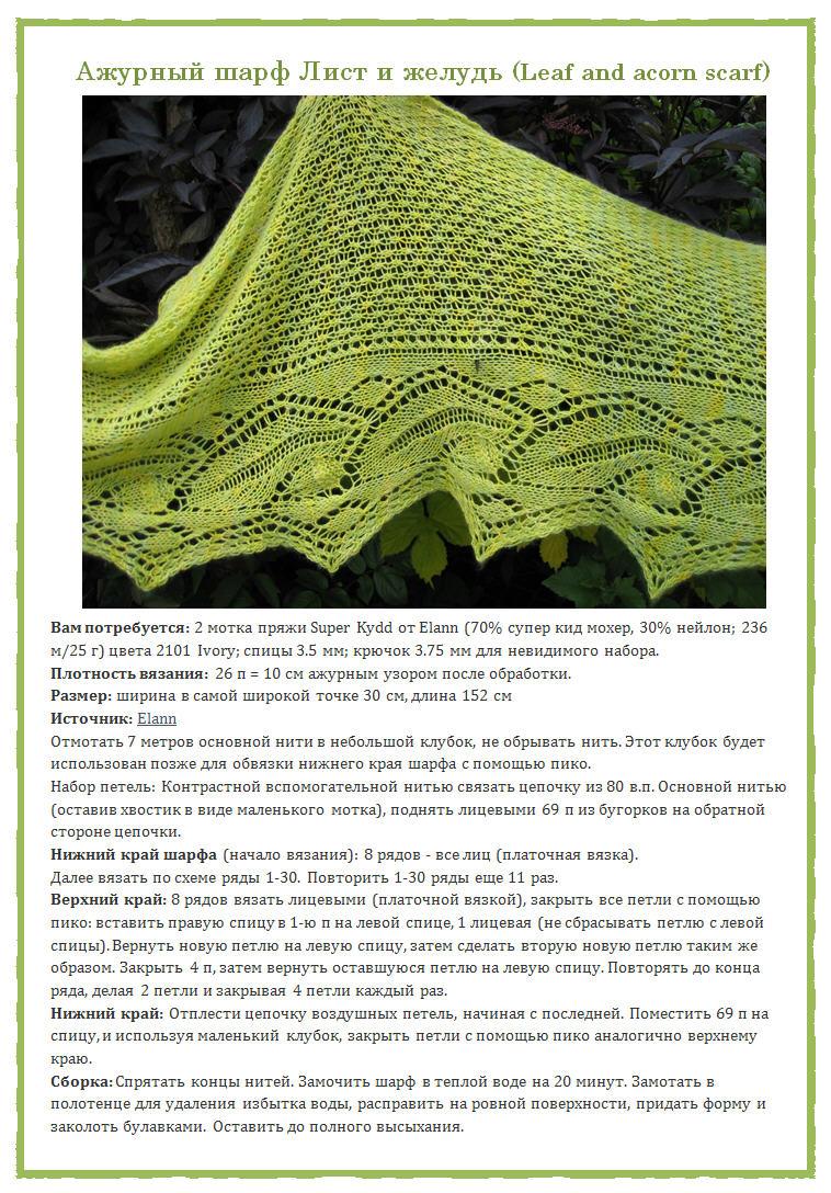 Вязание спицами шаль замерзшие листья схема и описание