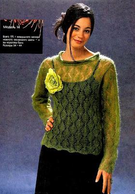 1. Оливковый ажурный пуловер из мохера.