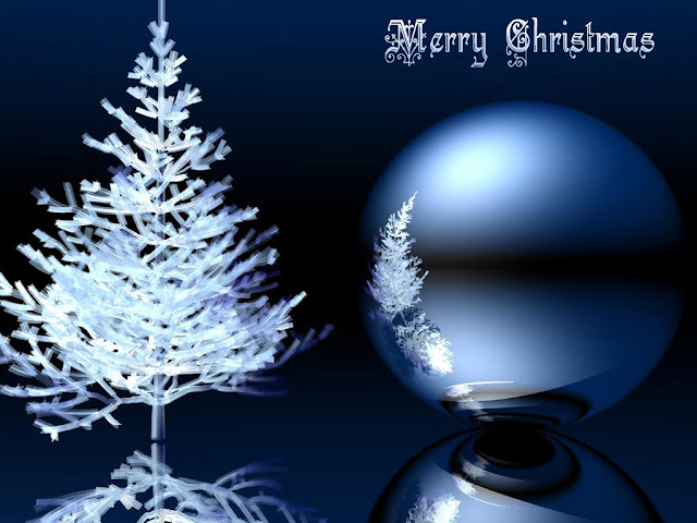 Blue ice tree christmas wallpaper