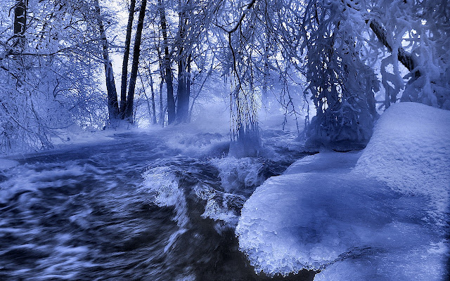Winter wallpaper ice river waves