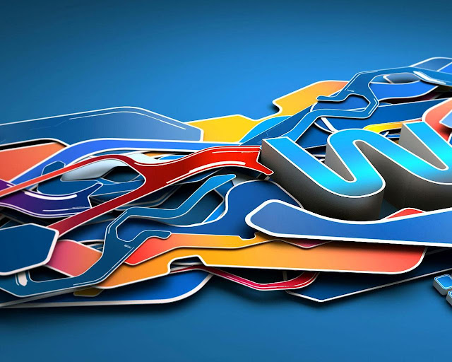 3D blue graffiti art wallpaper