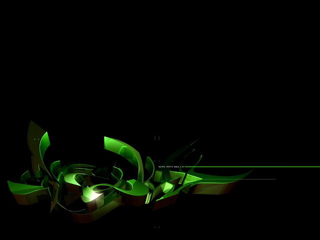 3D green in black graffiti wallpaper