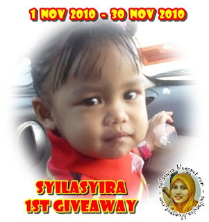 Pemenang Pertama Syilasyira 1st Giveaway