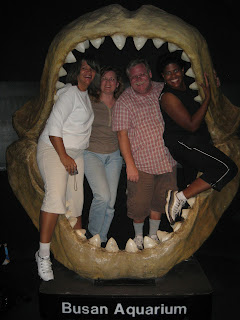 All four of us in classic photo op, inside giant shark jaw