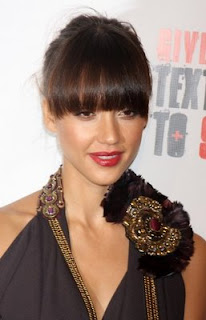 Modern Blunt Bangs Hairstyles from Jessica Alba 2010