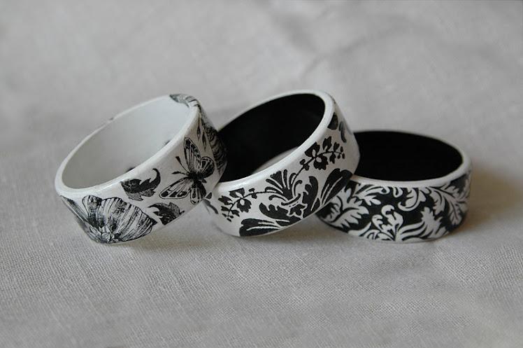 bransoletki czarno białe