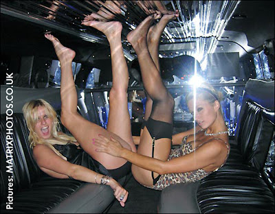 Paris Hilton and Nicky Hilton in Limousine