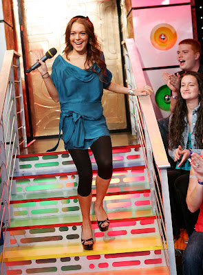 Lindsay Lohan Black Platform Open Toe Heels