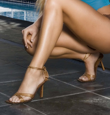 Jennifer England Wearing Brown Ankle Strap High Heels