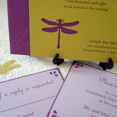 Summer and Seth chose a dragonfly motif for their wedding invitations