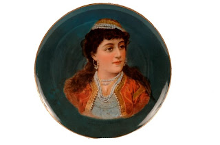 ottoman woman figure on porcelain plate