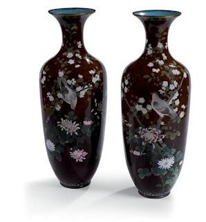 19c cloisonne vases