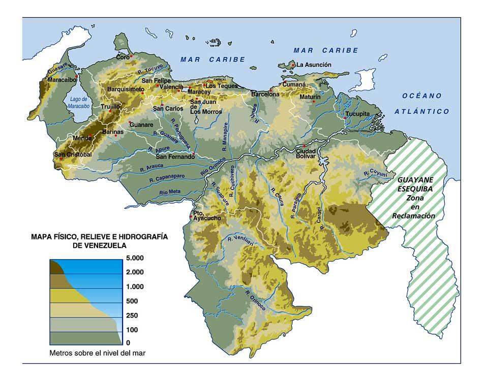 venezuela y Honduras relieve de venezuela