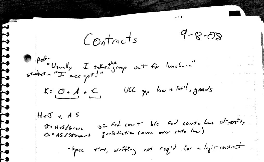 Blawgs, Briefs and Outlines: Contracts