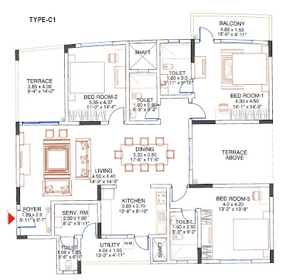 floor plan of 3 bedroom apartment at sobha carnation pune