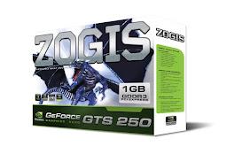 ZOGIS GTS 250 1GB GDDR3 256 BITS.