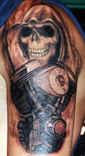Grim Reaper and Motorcycle Engine Tattoo on arms