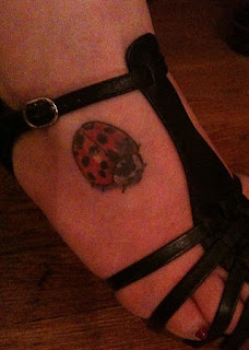 Full Color Ladybug Foot Tattoo Design