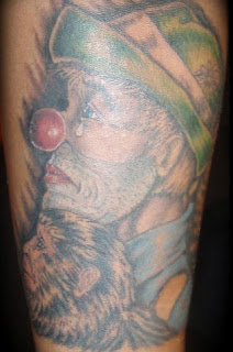 Sad Hobo Clown Tattoo Design