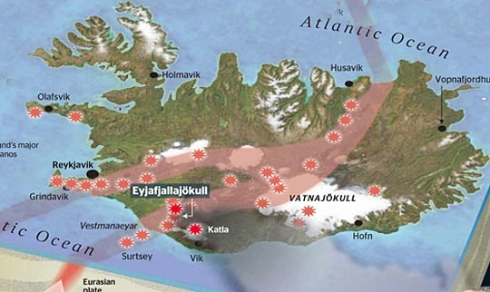 Map of Iceland showing major volcanoes (The