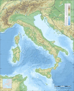 italy topographic map blank