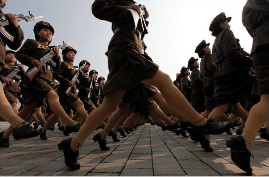 north korean women marching. North Korean Female Soldiers