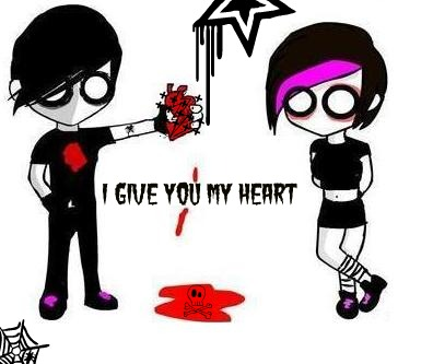 emo love i give you my heart
