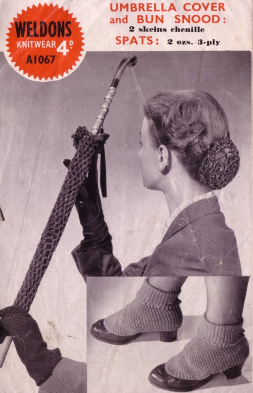 Knit for Victory: Umbrella cover, bun snood and spats