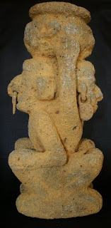 San Augustin volcanic stone sculpture altar for coco leaves for shamanic ritual masculine and feminine images equality