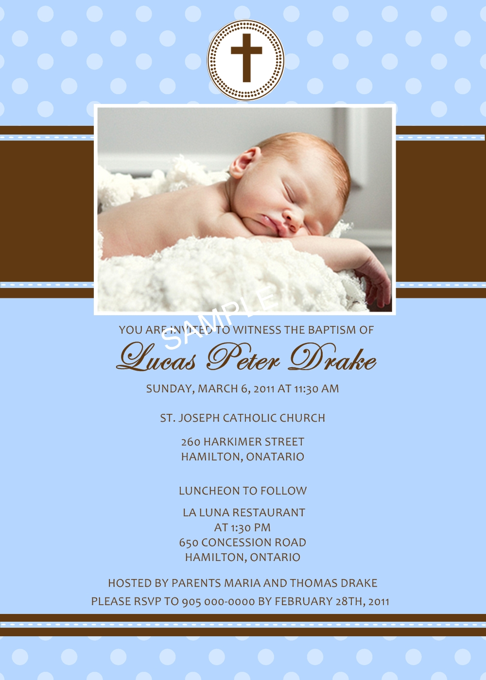 ideal accents designs  baptism  christening invitation