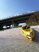 My kayak next to the sketchy overpass