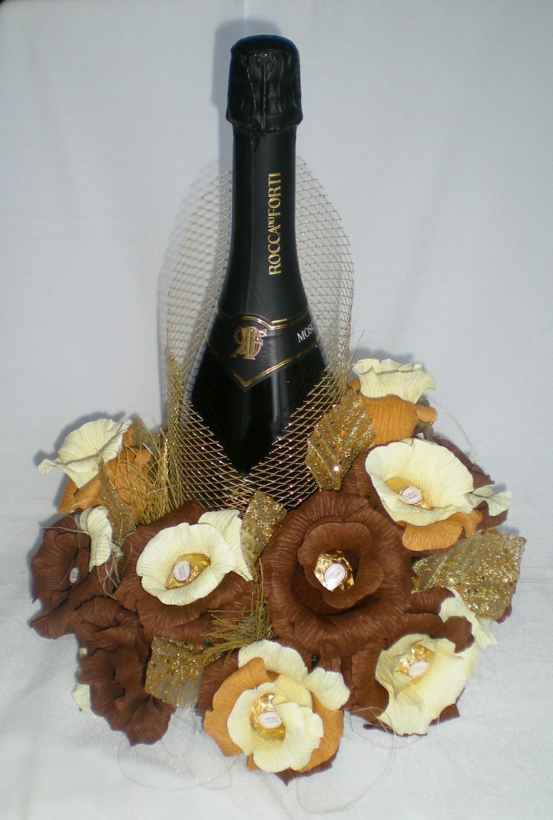 Букеты из конфет, декор бутылок вина и шампанского Olga Malinovskaya 87