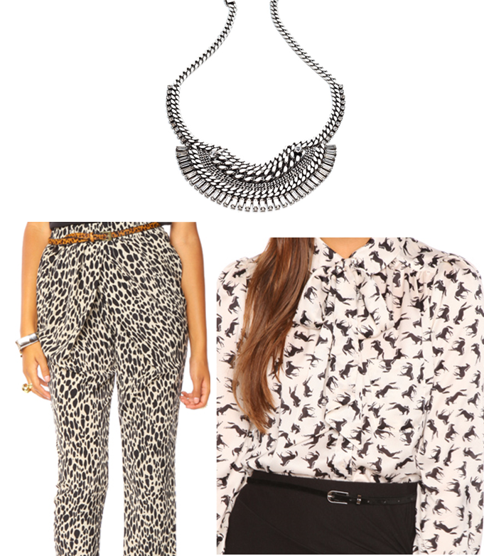 cheetah print blouse. Mix the horse print top with