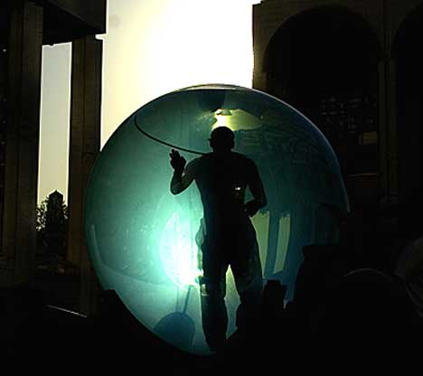 a water bubble in the Lincoln Centre Plaza