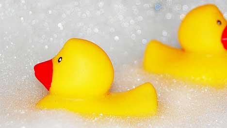Wall-E takes a bubble bath