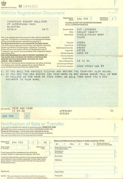 Vehicle Registration Document