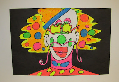 clown, elementary Art, bright colors, children's art, children's painting, flourescent colors