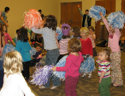 exercise for children, childhood obesity, early childhood movement, jumping, pompoms