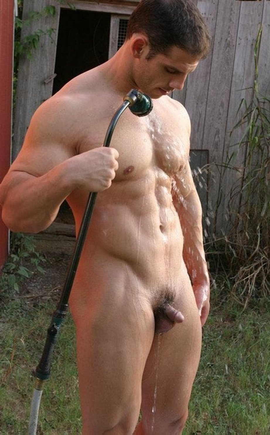 Hot Stud Forced To Shrink His Penis With Cold Shower Outside