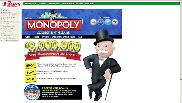 Topsmarkets.com Monopoly | Topsmarkets.com/Monopoly