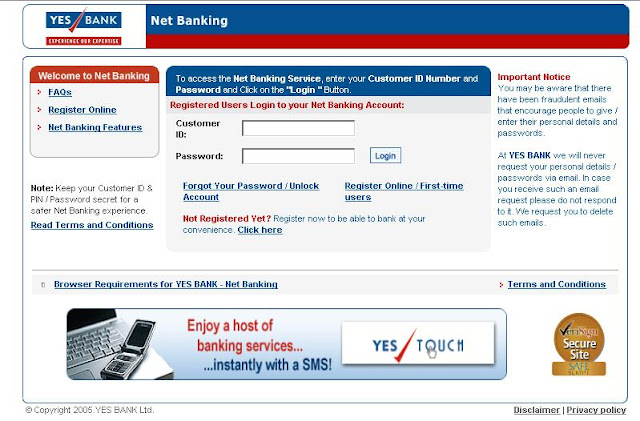 YES BANK - Online Banking Login at www.yesbank.in - YES TOUCH Internet Banking