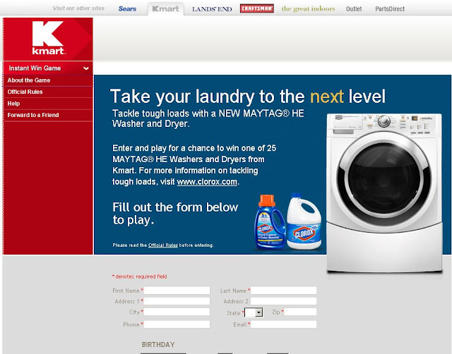 Kmart.com/clorox - Kmart clorox Maytag Washer/Dryer Instant Win Game