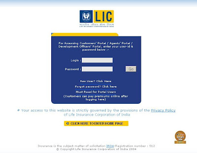LIC India : Login - www.LICIndia.com - Life Insurance Corporation of India